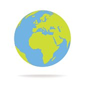 Green and blue cartoon world map globe vector illustration