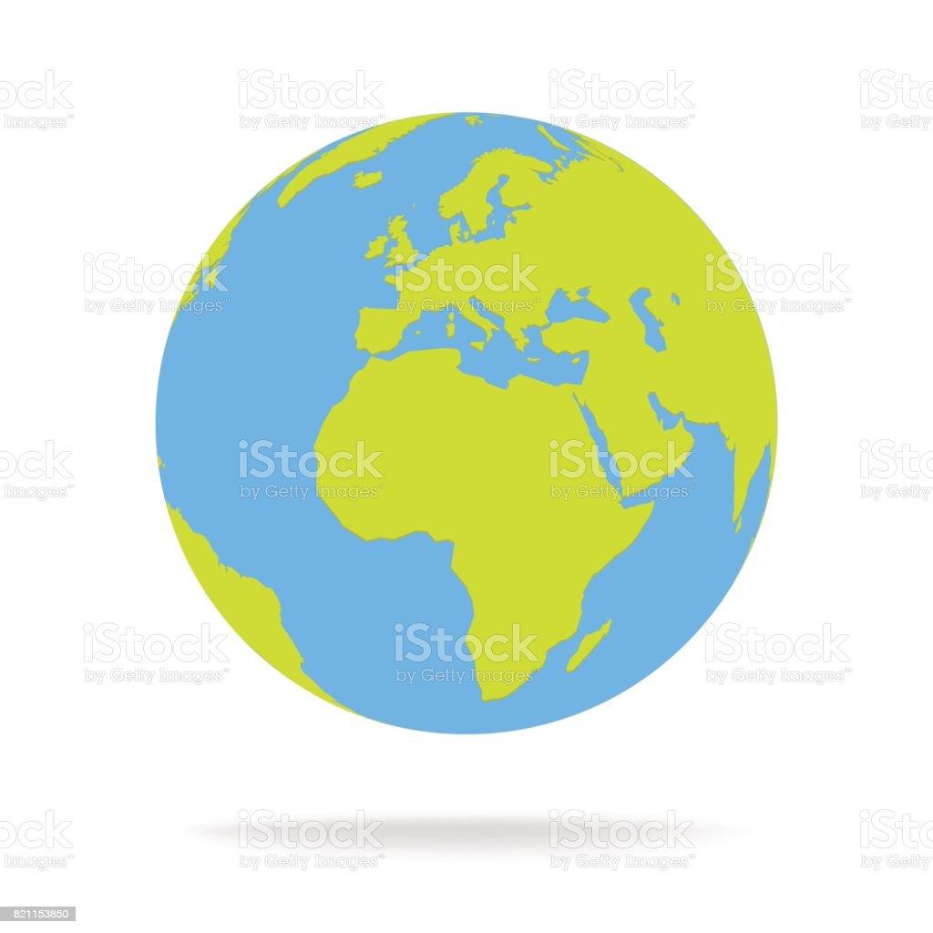 Green and blue cartoon world map globe vector illustration vector art illustration