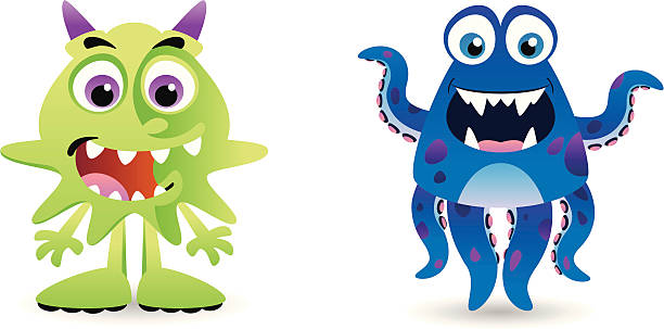Green and Blue Creatures vector art illustration