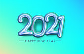Green and blue foil balloon 2021 sign on green gradient background. Happy new year sign. Vector holiday illustration.