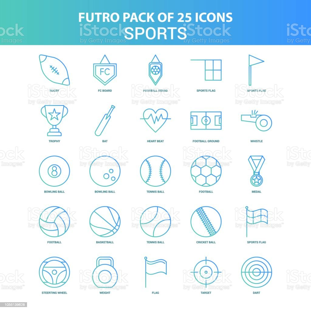 25 Green and Blue Futuro Sports Icon Pack