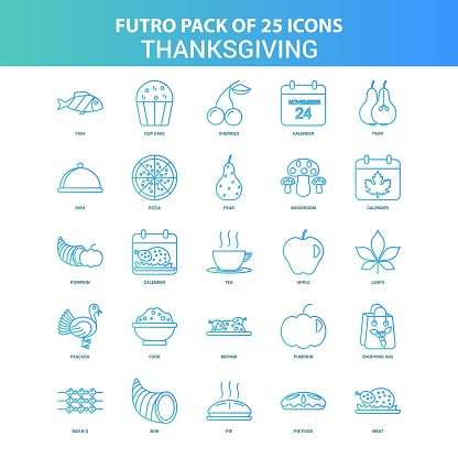 25 Green and Blue Futuro Thanksgiving  Icon Pack