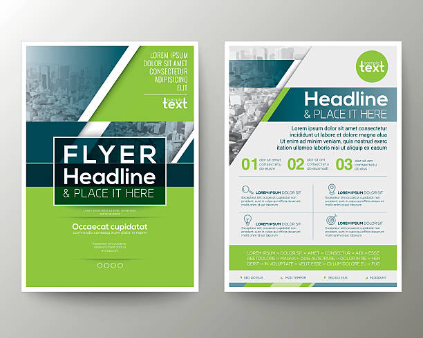 green and blue geometric poster brochure flyer design template layout - blue drawings stock illustrations