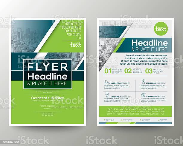 Green And Blue Geometric Poster Brochure Flyer Design Template Layout Stock Illustration - Download Image Now
