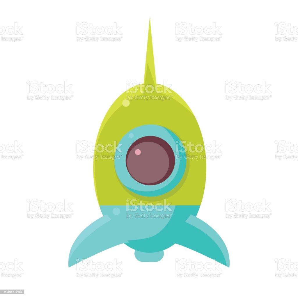 Grün Und Blau Spielzeug Rakete Raumschiff, Objekt Von Babyzimmer,  Glückliche Kindheit Süßen Illustration Lizenzfreies