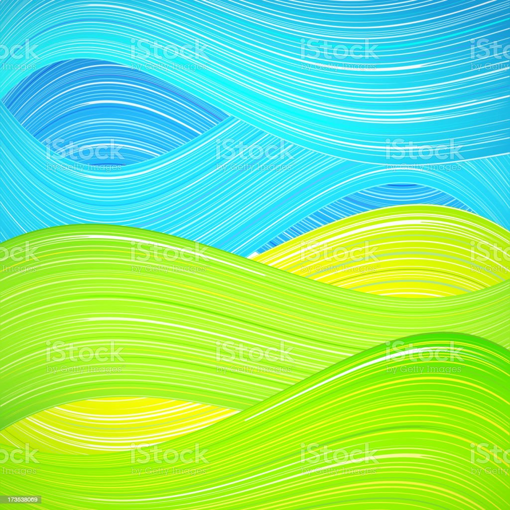 Green and blue wave background vector art illustration