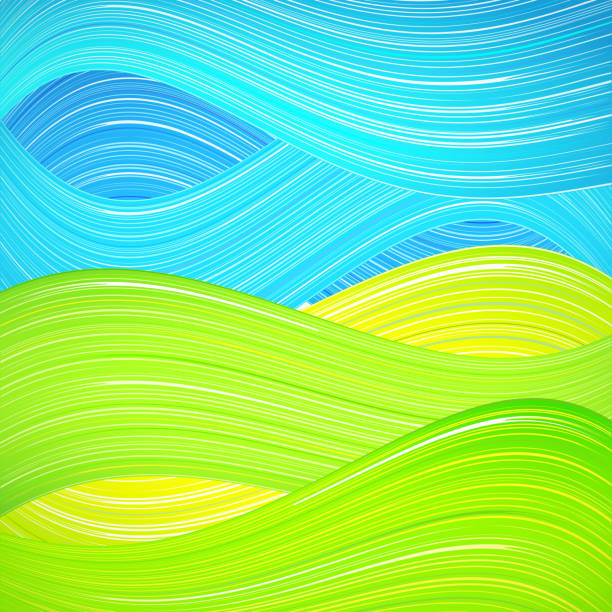 green and blue wave background - beach fashion stock illustrations, clip art, cartoons, & icons
