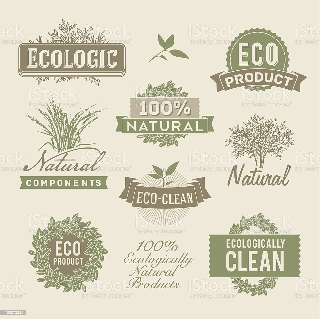 Green and brown ecological and natural emblems royalty-free stock vector art