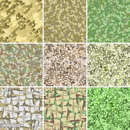 Green And Brown Military Camouflage Stain And Pixel Background Seamless Pattern Stock Vector Art & More Images of Abstract