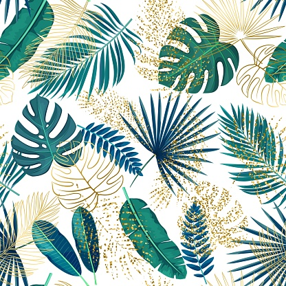 Green and golden tropical leaves seamless pattern on white background, vector illustration