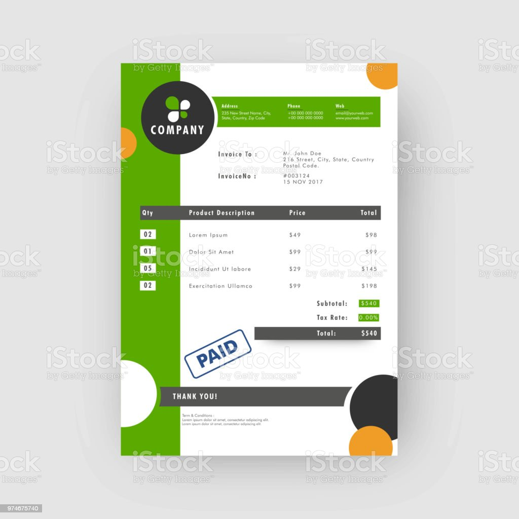 Green And Grey Corporate Invoice Or Estimate Template Stock Vector - Template invoice free silhouette online store