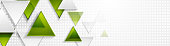 Green and grey triangles tech web banner abstract design. Vector background