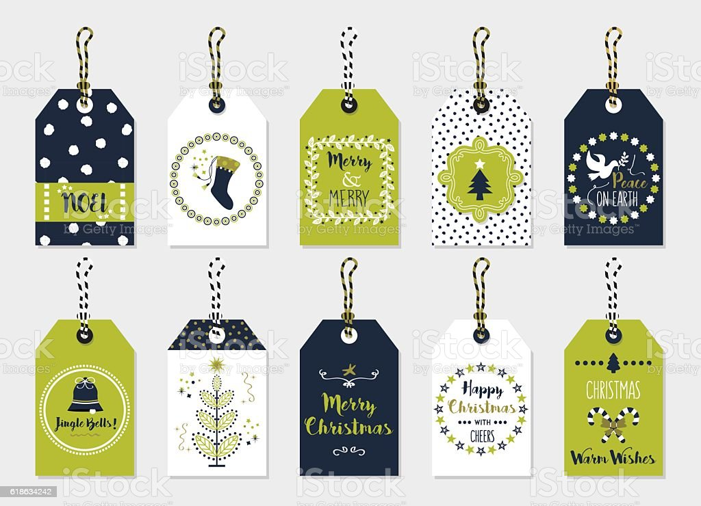 Green and navy blue Christmas gift tags set on gray vector art illustration