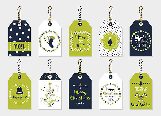 Green and navy blue Christmas gift tags set on gray – artystyczna grafika wektorowa