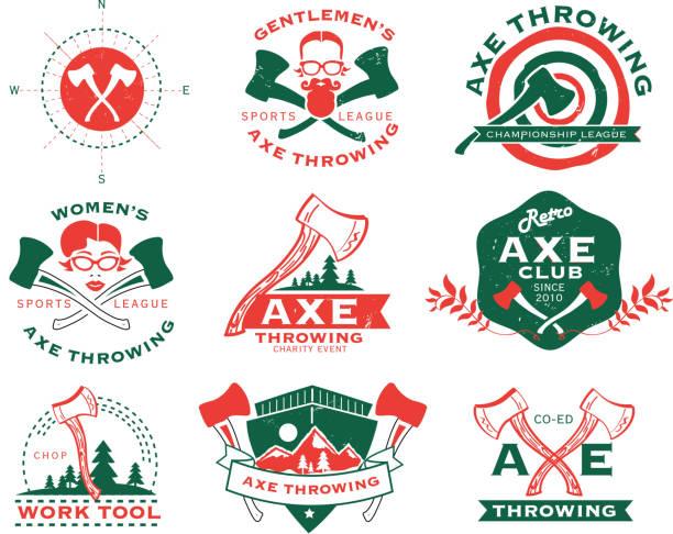illustrations, cliparts, dessins animés et icônes de vert et orange le lancer de hache ensemble d'étiquettes et de badges - man axe wood