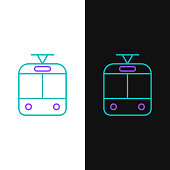 Green and purple line Tram and railway icon isolated on white and black background. Public transportation symbol. Vector Illustration