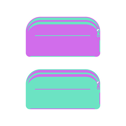 Green and purple school pencil cases on a white background.