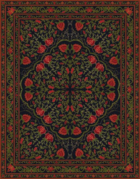 stockillustraties, clipart, cartoons en iconen met groene en rode tapijt. - turkse cultuur
