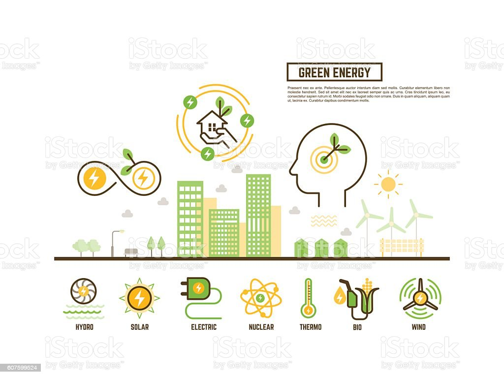 green and renewable energy concept for ecology web banner outlin vector art illustration
