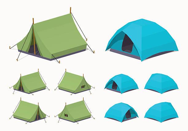 ilustrações, clipart, desenhos animados e ícones de verde e azul-céu acampamento de tendas - barraca