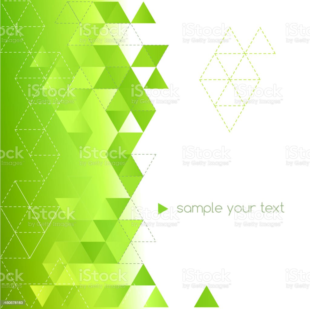 A green and white background based on triangles vector art illustration