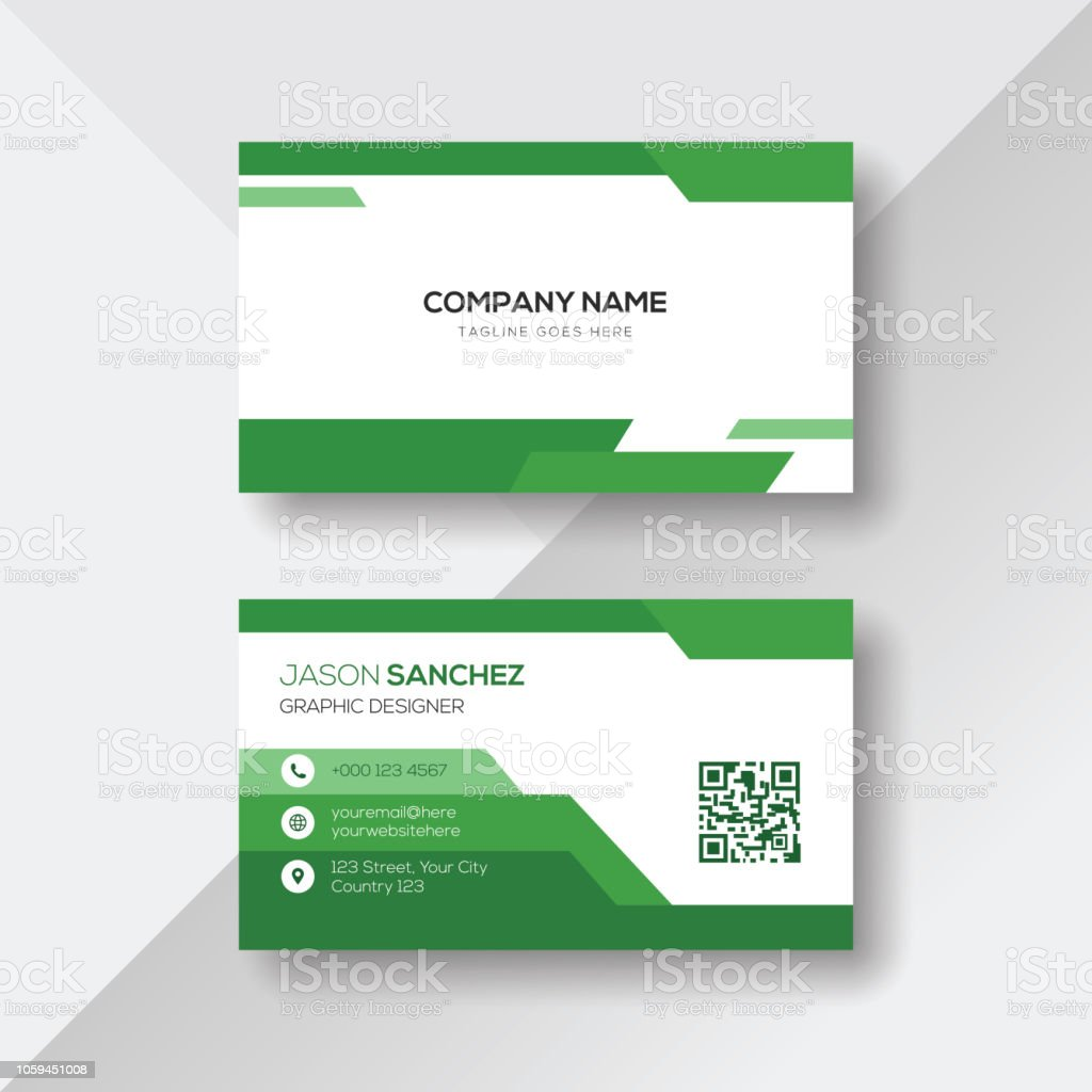Green And White Business Card Design Template Stock Vector Art