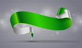 Green and white curved ribbon or banner on grey background. Banner for new year, sale, Christmas, St. Patrick's day and Easter design