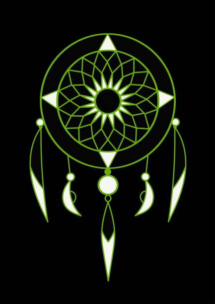 grüner und weißer traumfänger mit federvektorkunst auf schwarzem hintergrund - perlenweben stock-grafiken, -clipart, -cartoons und -symbole