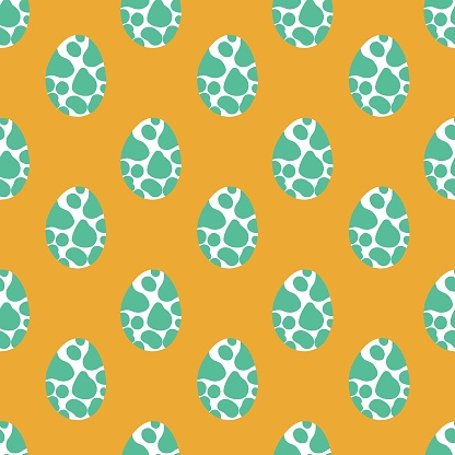 Green and white eggs seamless pattern isolated on yellow vector