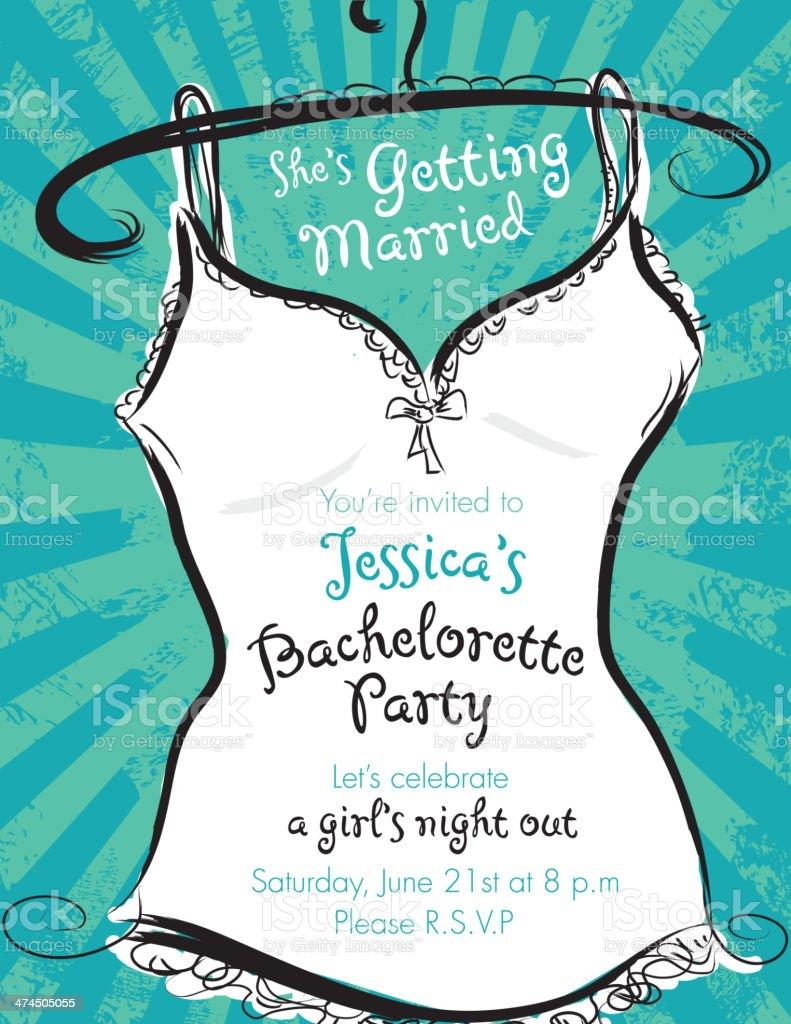 Green and white Elegant bachelorette party invitation design template vector art illustration