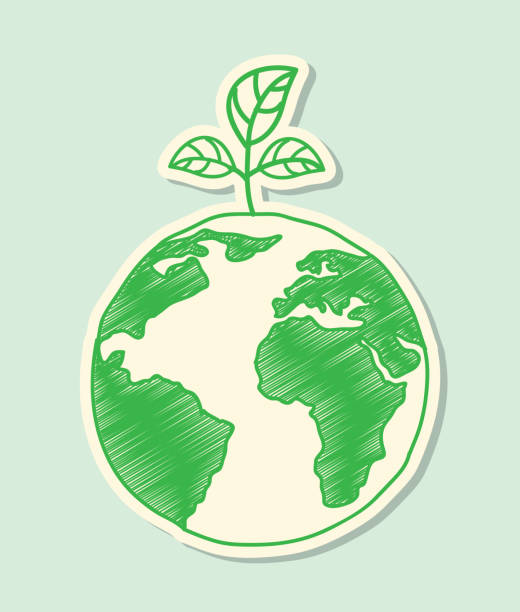 Green and white environmental ecology design vector art illustration