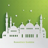 Green and white greeting card for Ramadan