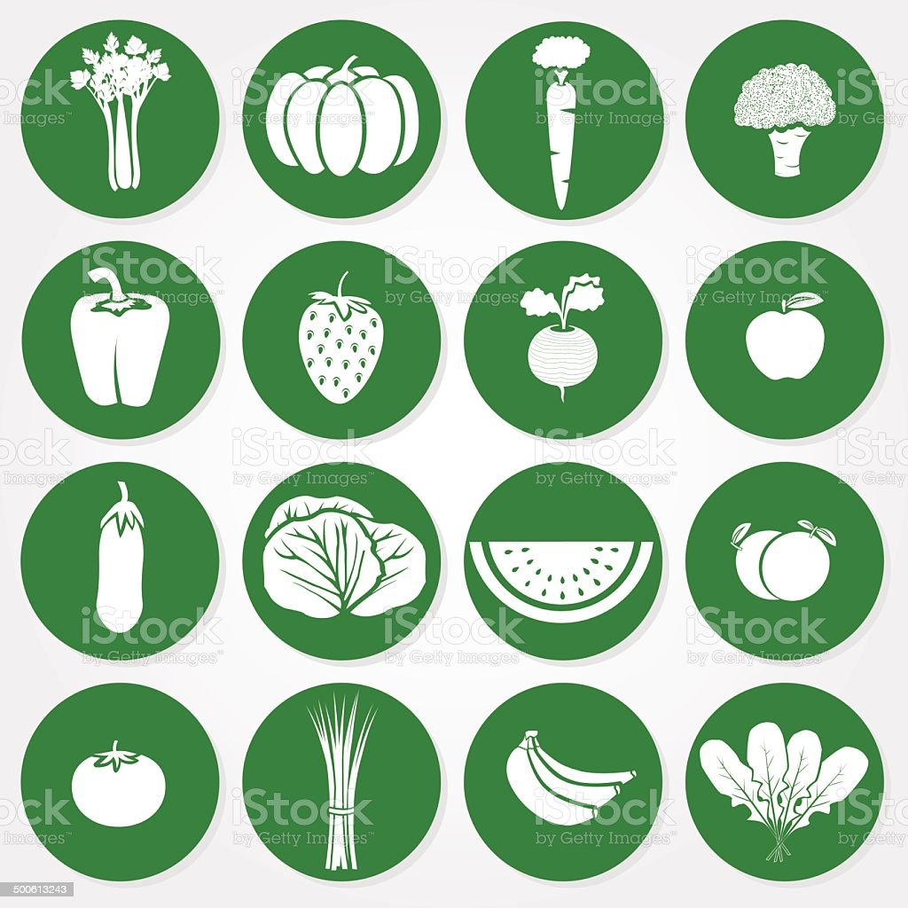 Green and white icons of vegetables and fruits vector art illustration