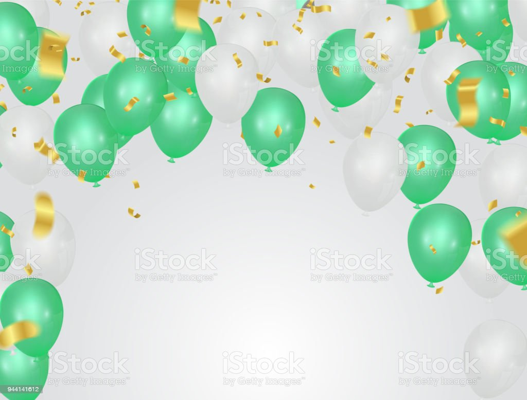 green and white party balloons on the white background stock vector