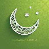 Green and white Ramadam greeting poster