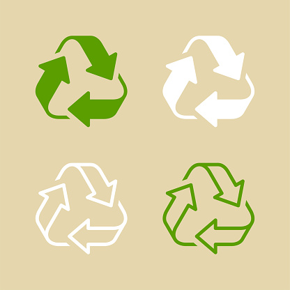 Green and White Recycle Symbol Set Isolated