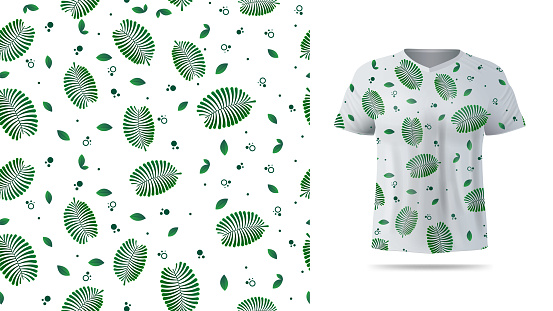 Green and white seamless pattern with exotic leaves, tropical elements for printing on t shirt. Visualization of t shirt design