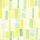 Green and white seamless vector geometrical pattern. Rectangles. Green and yellow hand drawn lines on a white background. Endless background with textured geometric figures. Doodle rectangles.