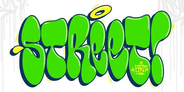 Green And Yellow Abstract Hip Hop Graffiti Style Words Street Art Vector Illustration Art