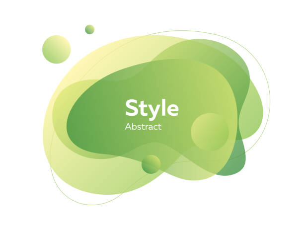 녹색과 노란색 추상 투명 레이어 - 샘플 텍스트 stock illustrations