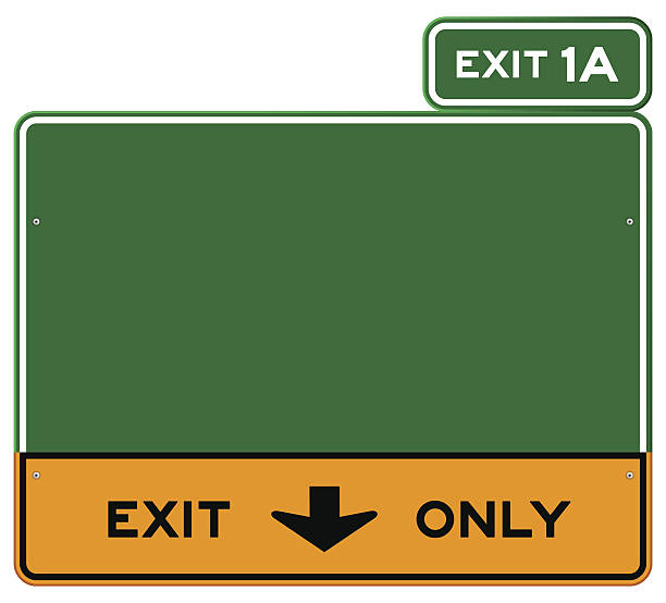 Green and yellow Exit Only sign with green Exit 1A sign Green and yellow highway sign defining lanes. EPS version 10 with transparency included in download. highway stock illustrations