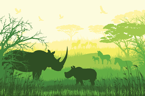 Green and yellow silhouettes of African wildlife