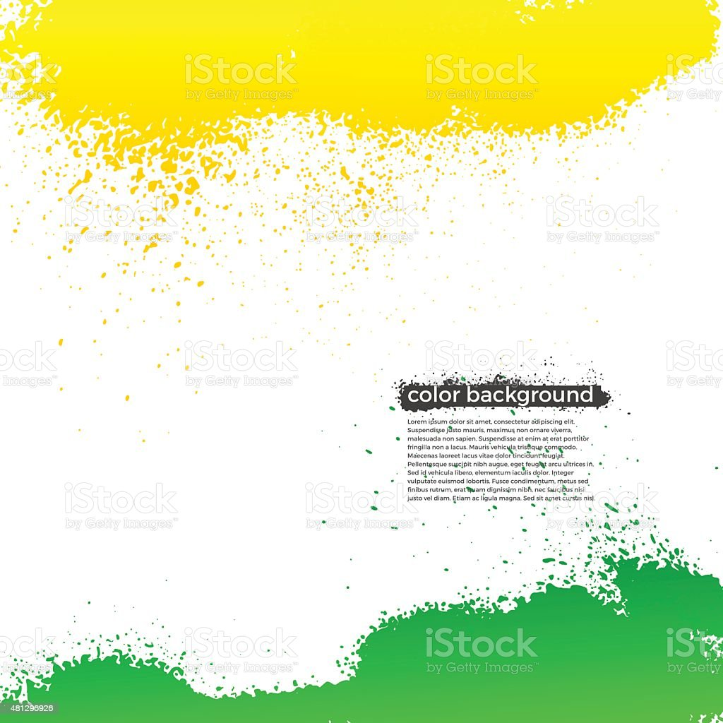 Green And Yellow Splatter Paint Grunge Bright Background vector art illustration