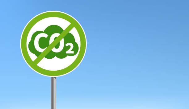 bildbanksillustrationer, clip art samt tecknat material och ikoner med grön anti co2 utsläpp underteckna blå himmel vektor illustration - co2