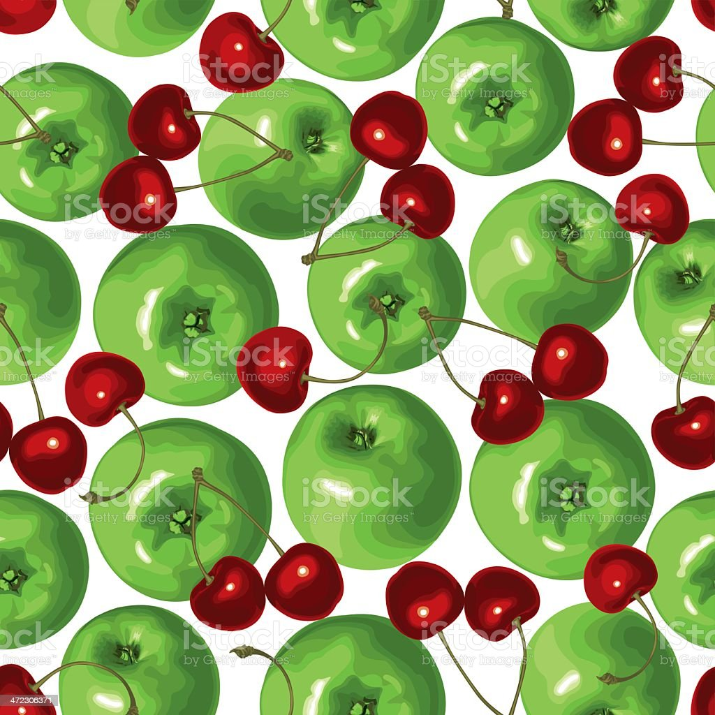 Green apple and cherries seamless pattern royalty-free stock vector art