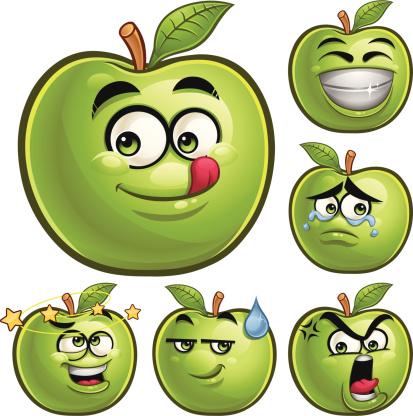 Green Apple Cartoon Set A