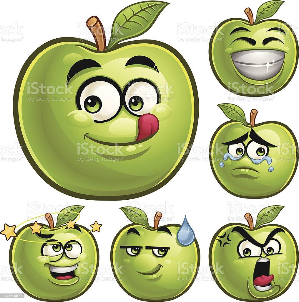 Green Apple Cartoon Set A vector art illustration