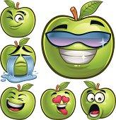 Cartoon green apple set including: