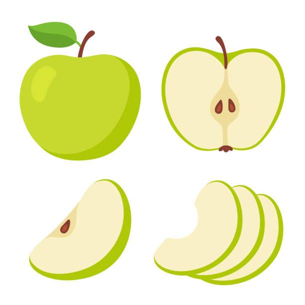illustrazioni stock, clip art, cartoni animati e icone di tendenza di set di cartoni animati di mela verde - mela