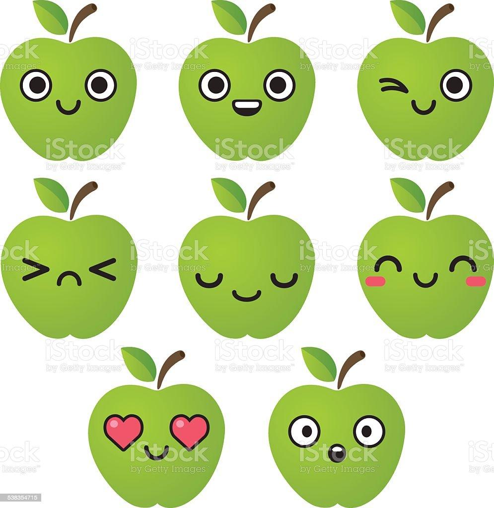 Green apple emoticons vector art illustration